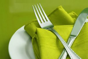 Restaurant Table with Green Napkin