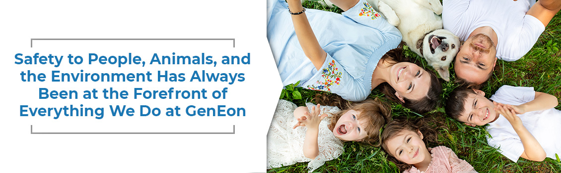Happy Family of Five With Their Dog Seeing Smiling From Above Representing GenEon Clients