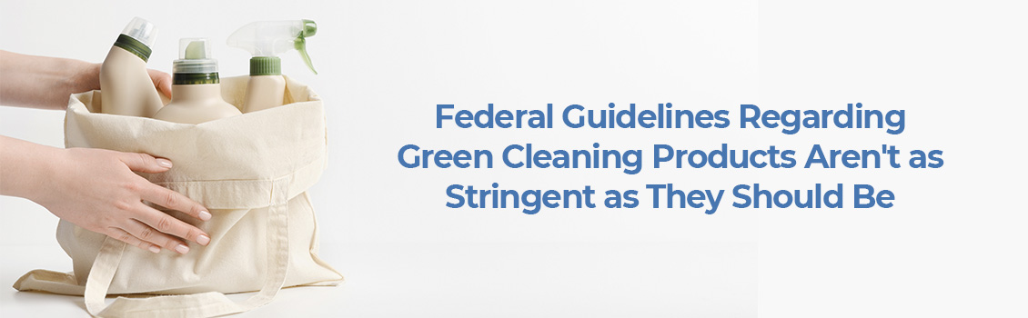 Hands Placing a Bag With Misleadingly Green Cleaning Products on a Surface